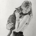 Girl and Cat Drawing
